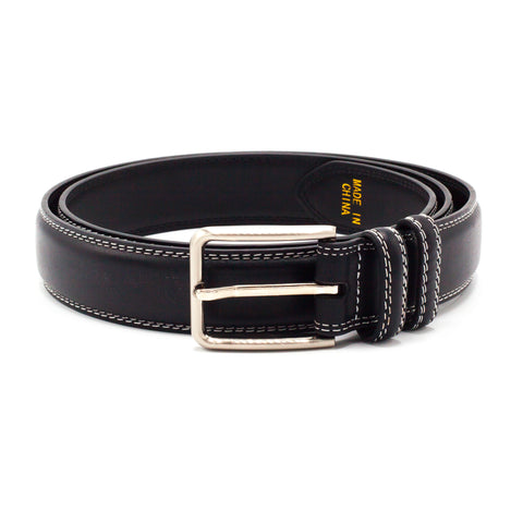 STACY ADAMS BELT BLACK/WHITE STITCHES