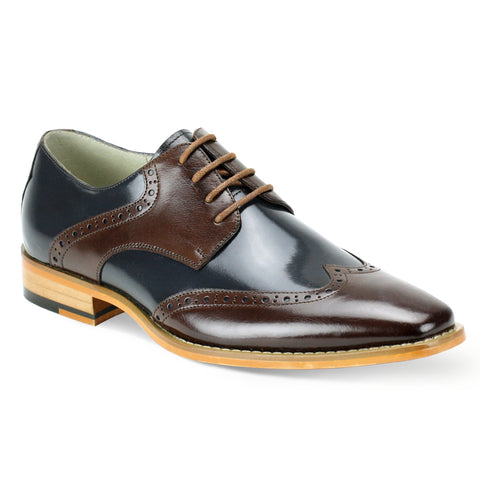 BENTLEY/ GIOVANNI LEATHER SHOES BROWN/NAVY