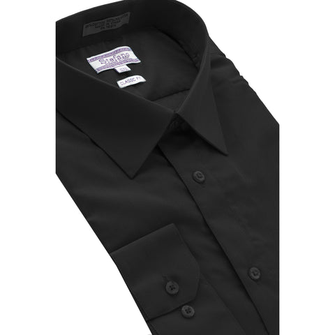 STEFANO SOLID DRESS SHIRT BLACK
