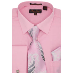 BRUNO CONTE SHIRT, TIE & POCKET SQUARE SET / PINK