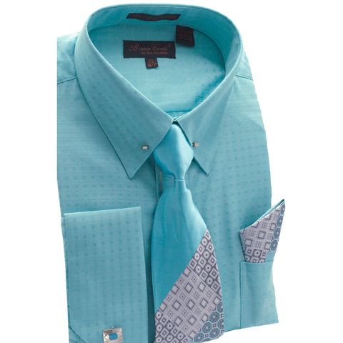 BRUNO CONTE SHIRT, TIE & POCKET SQUARE SET / TURQ