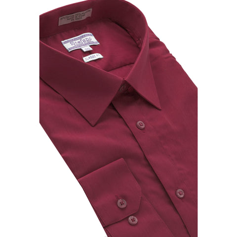 STEFANO SOLID DRESS SHIRT BURGUNDY