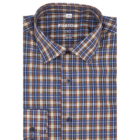 FUSION SPORT SHIRT BROWN/BLUE