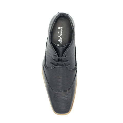 LACE-UP WING TIP BLACK SHOES