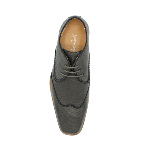 LACE-UP WING TIP GREY SHOES
