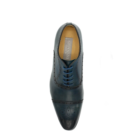 CARLO LEATHER CAP TOE  OXFORD - BLUE