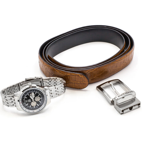 STACY ADAMS WATCH & BELT SET