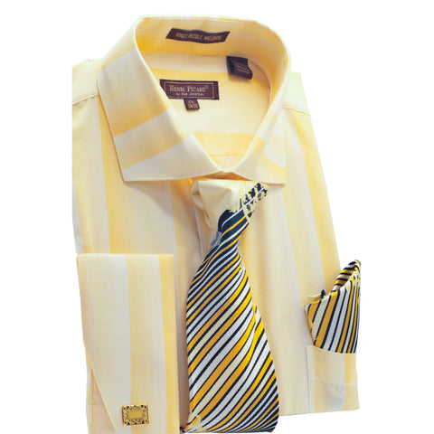 HENRI PICARD SHIRT, TIE & POCKET SQUARE SET / GOLD