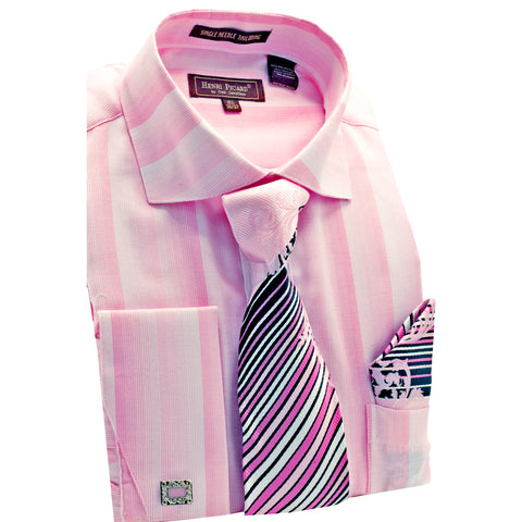 HENRI PICAR SHIRT, TIE & POCKET SQUARE SET / PINK