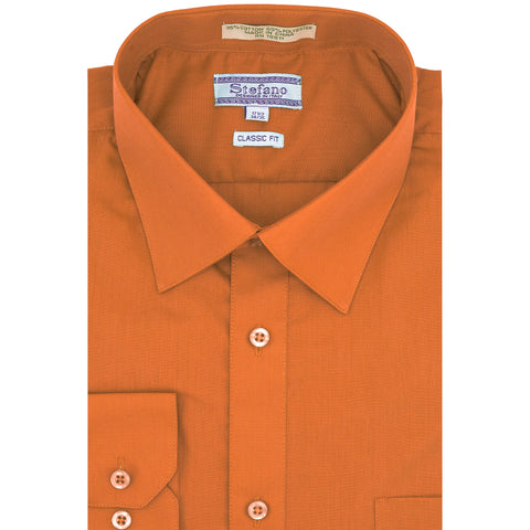 STEFANO SOLID DRESS SHIRT ORANGE