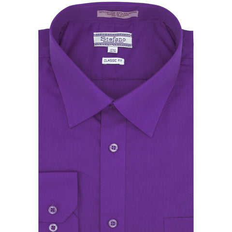 STEFANO SOLID DRESS SHIRT PURPLE