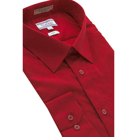 STEFANO SOLID DRESS SHIRT RED