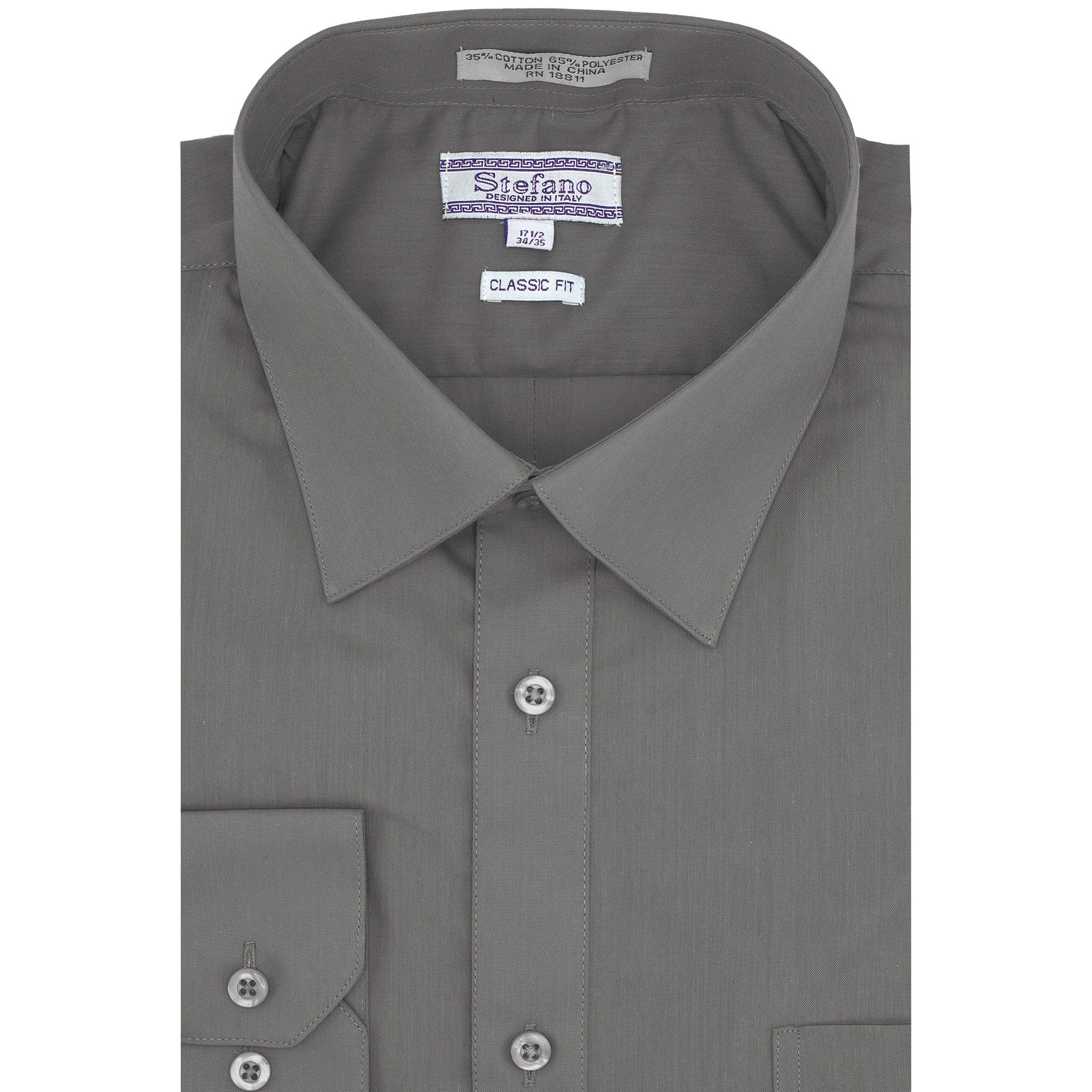 STEFANO SOLID DRESS SHIRT SILVER