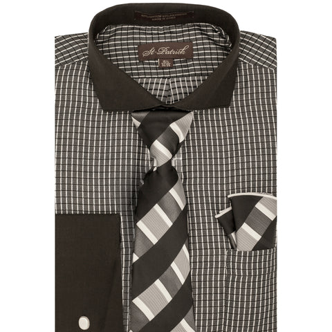 ST. PATRICK SHIRT, TIE & POCKET SQUARE SET / BLACK