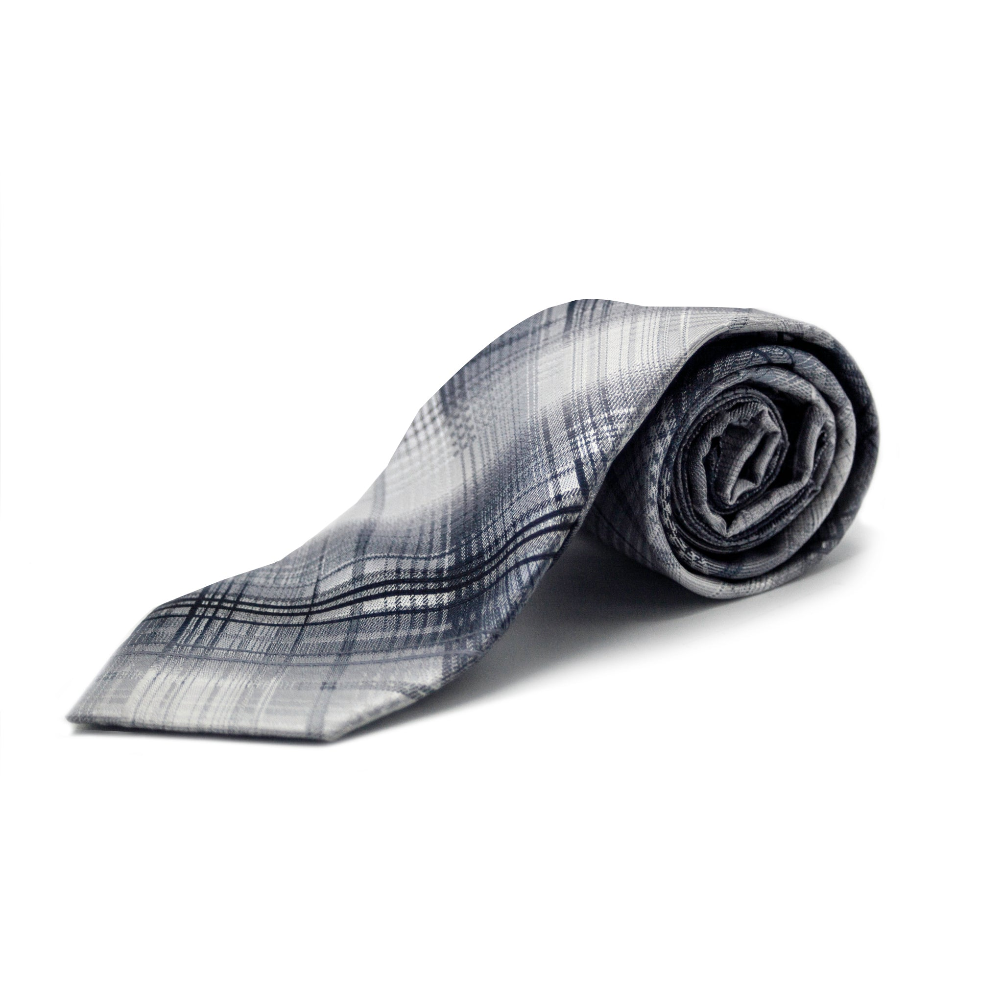 STACY ADAMS PLAID TIE SET - GREY