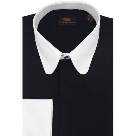 STEVEN LAND 2-TONE DRESS SHIRT , BLK/WHT