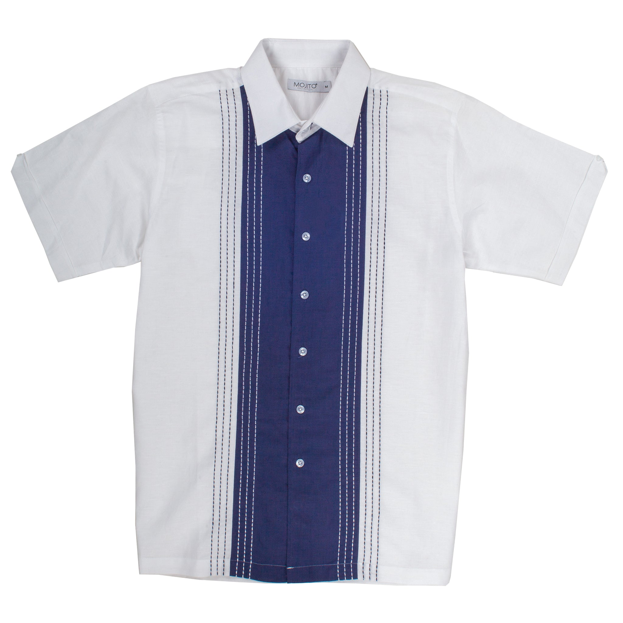 LINEN SHORT SLEEVE SHIRT WHITE/NAVY