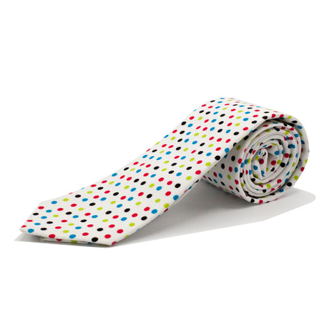 STACY ADAMS DOT TIE SET- WHITE