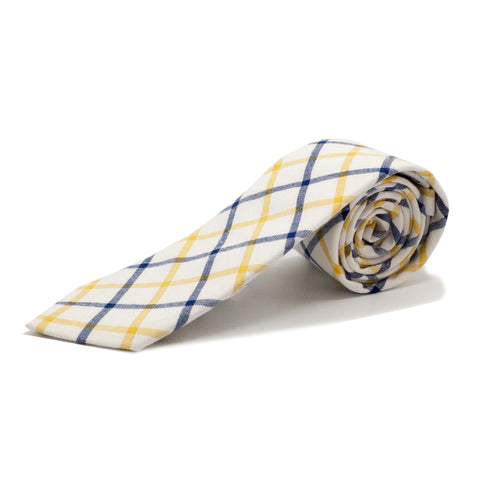STACY ADAMS PLAID TIE SET-YELLOW