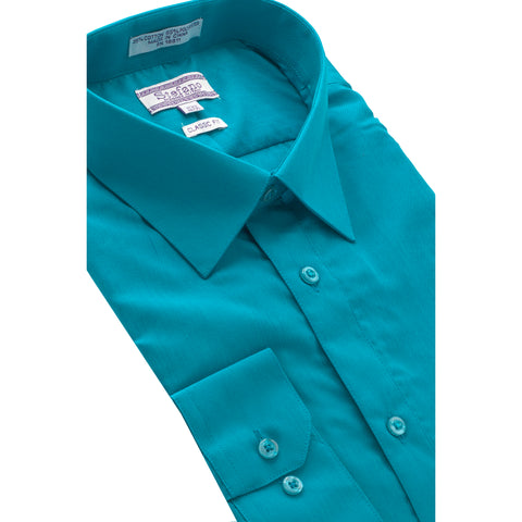STEFANO SOLID DRESS SHIRT TURQ