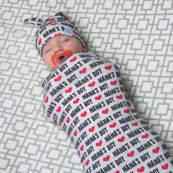 Momma's Boy Baby Swaddle Cocoon Set