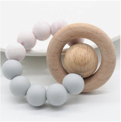 Blush Swirl + Gray Teether Ring