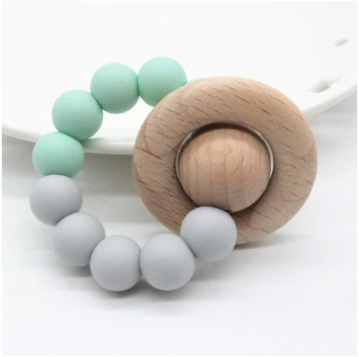 Teal + Gray Teether Ring