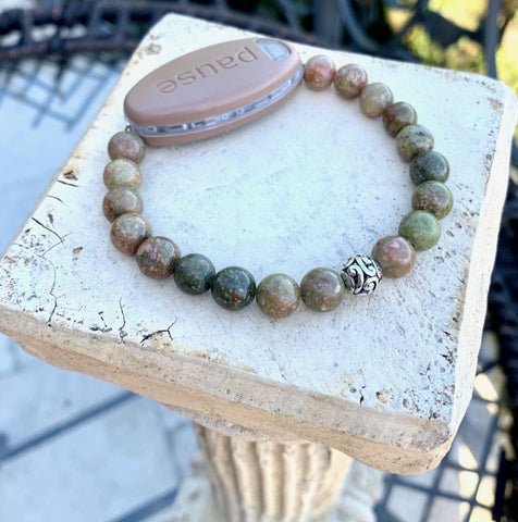 Special Offer Natural Green Autumn Jasper Natural Stone with Tiber Silver Focus bead