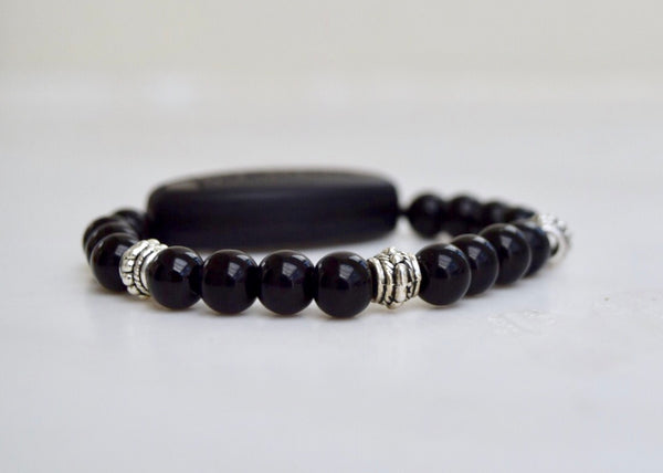 Polished Black Onyx - With Tibet Silver Medium Spacers