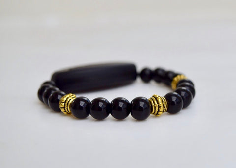 Polished Black Onyx - With Tibet Gold Medium Spacers