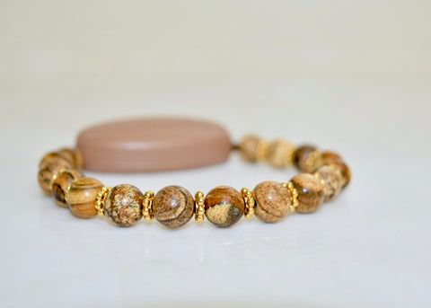 Picture Jasper Natural Stone - With Tibet Gold Daisy Spacers