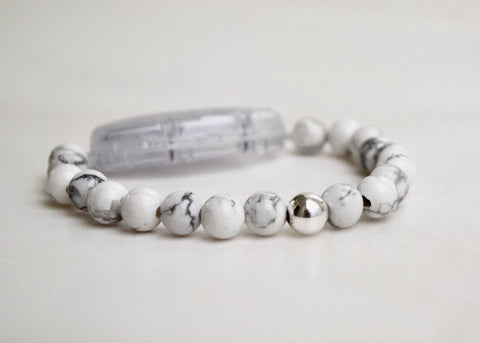 White Howlite with Sterling Silver Focus Bead