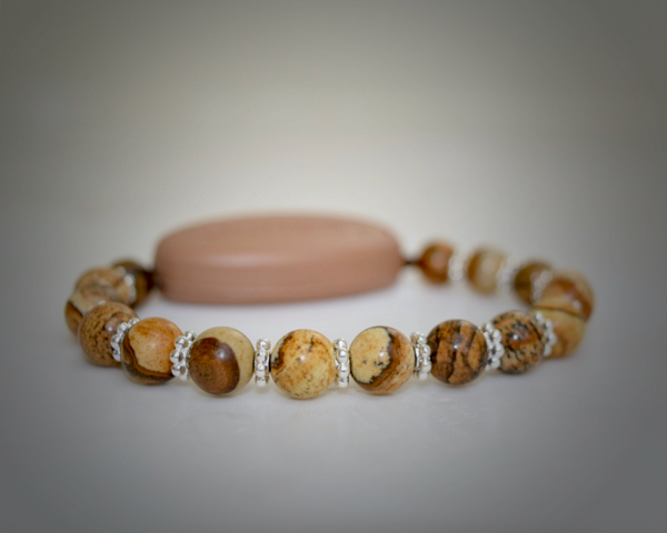 Picture Jasper Natural Stone - With Tibet Silver Daisy Spacers
