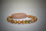 Picture Jasper Natural Stone - With Tibet Gold Medium Spacers