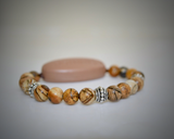 Picture Jasper Natural Stone - With Tibet Silver Medium Spacers