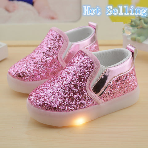 Childrens Glitter Light-Up LED Shoes - Selling Out Quick!