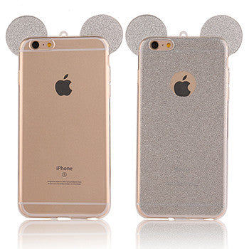 3D Mouse Ears Glitter iPhone Case (5, 5S, SE, 6, 6S, 6Plus)