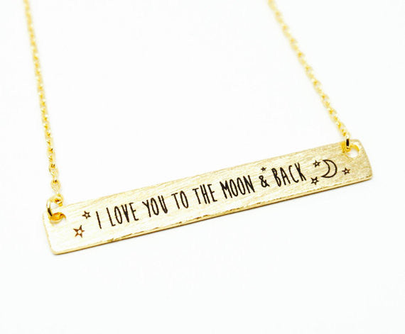 """I Love You To The Moon And Back"" Necklace - Long Bar Clavicle Pendant"