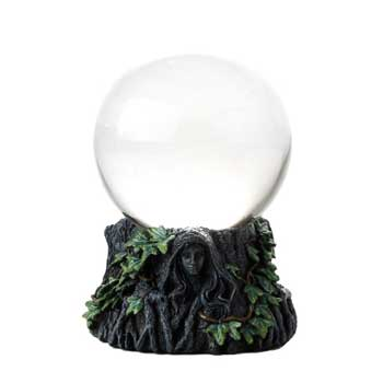 100mm Maiden, Mother , Crone Crystal Ball w/stand