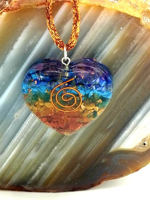 Heart Chakra Spiral Orgonite Necklace
