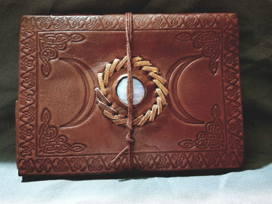 Triple Moon Stone Embossed Leather Journal