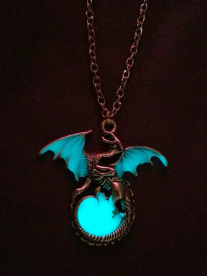 Night Flyer Dragon Necklace (Glow in the Dark Blue)