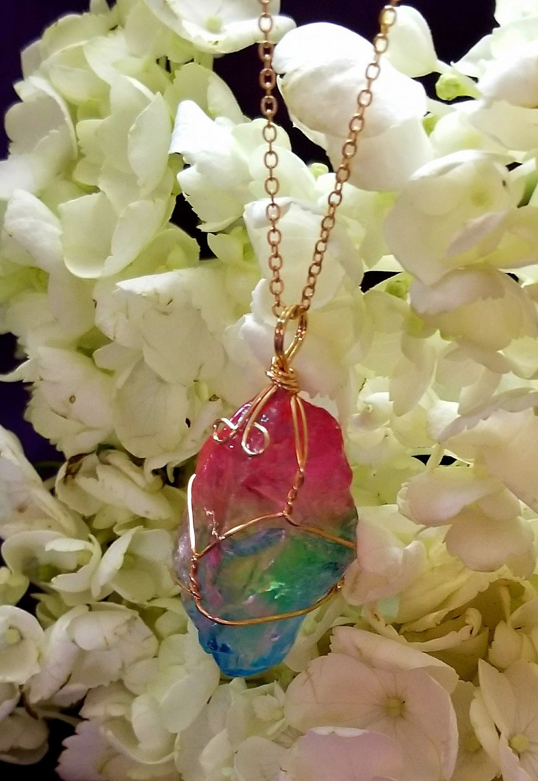 Raw Stone Wire Wrapped Necklace