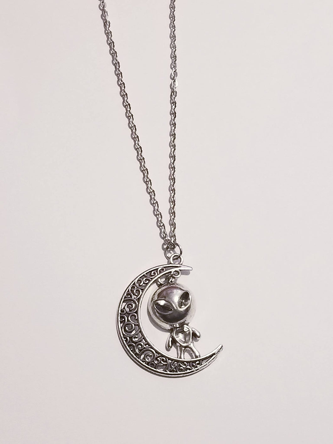 Alien Hanging by the Moon Necklace