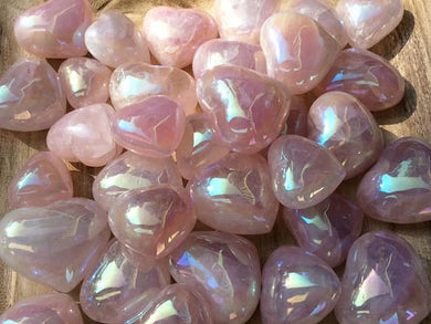Rose Quartz Angel Aura Puffy Heart Stones