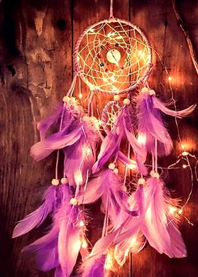 Purple Colored Light-Up Dream Catcher