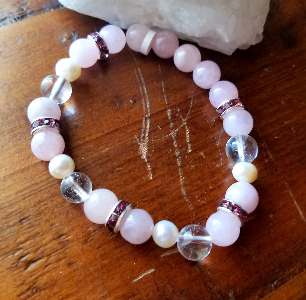 Rose Quartz, Crystal & Pearl 8mm Round Bead Bracelet