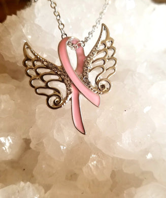 Pink Support Ribbon & Angel Wings Necklace