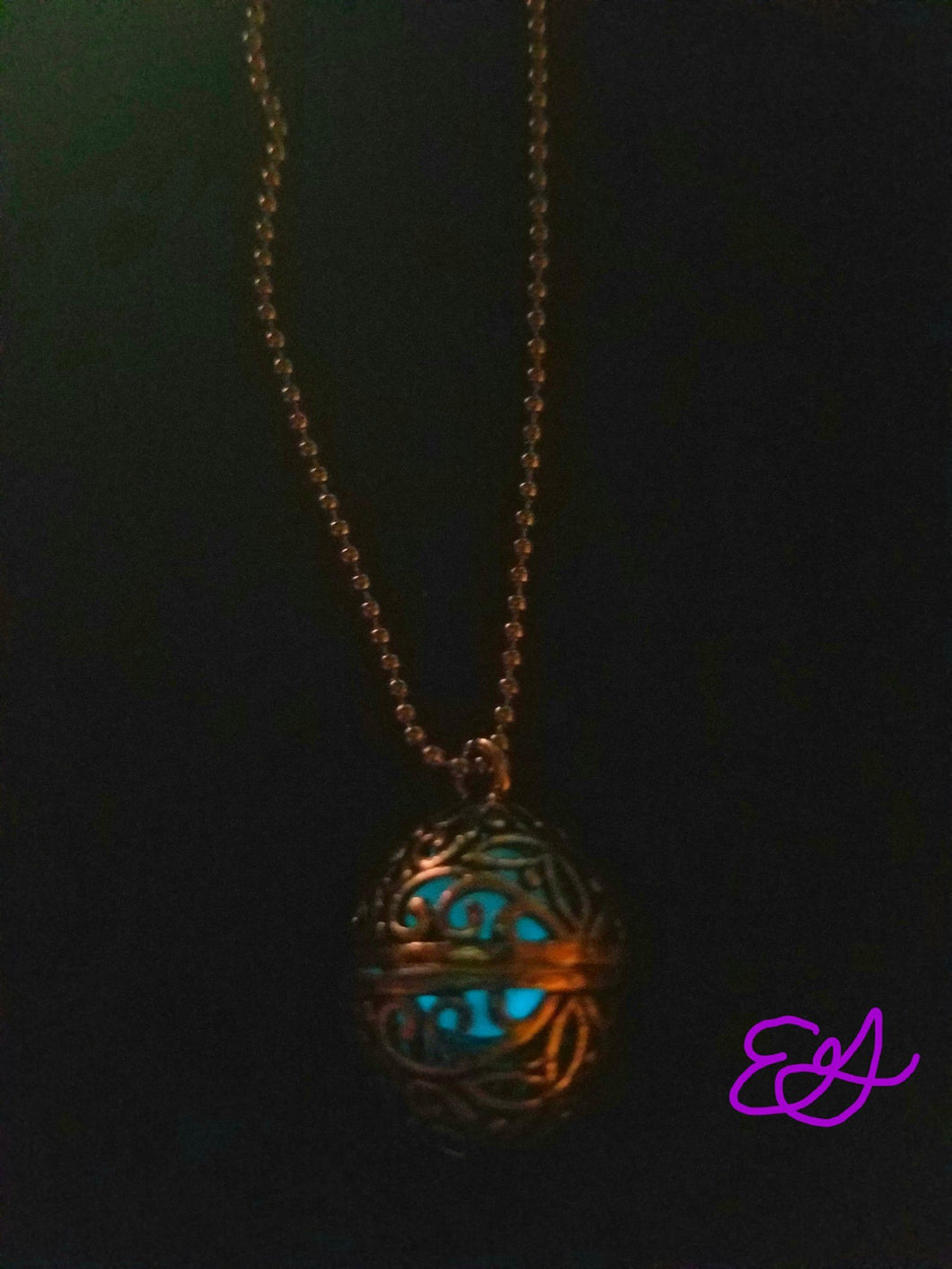 Sea Dragon Egg Necklace (Blue Glow in the Dark)