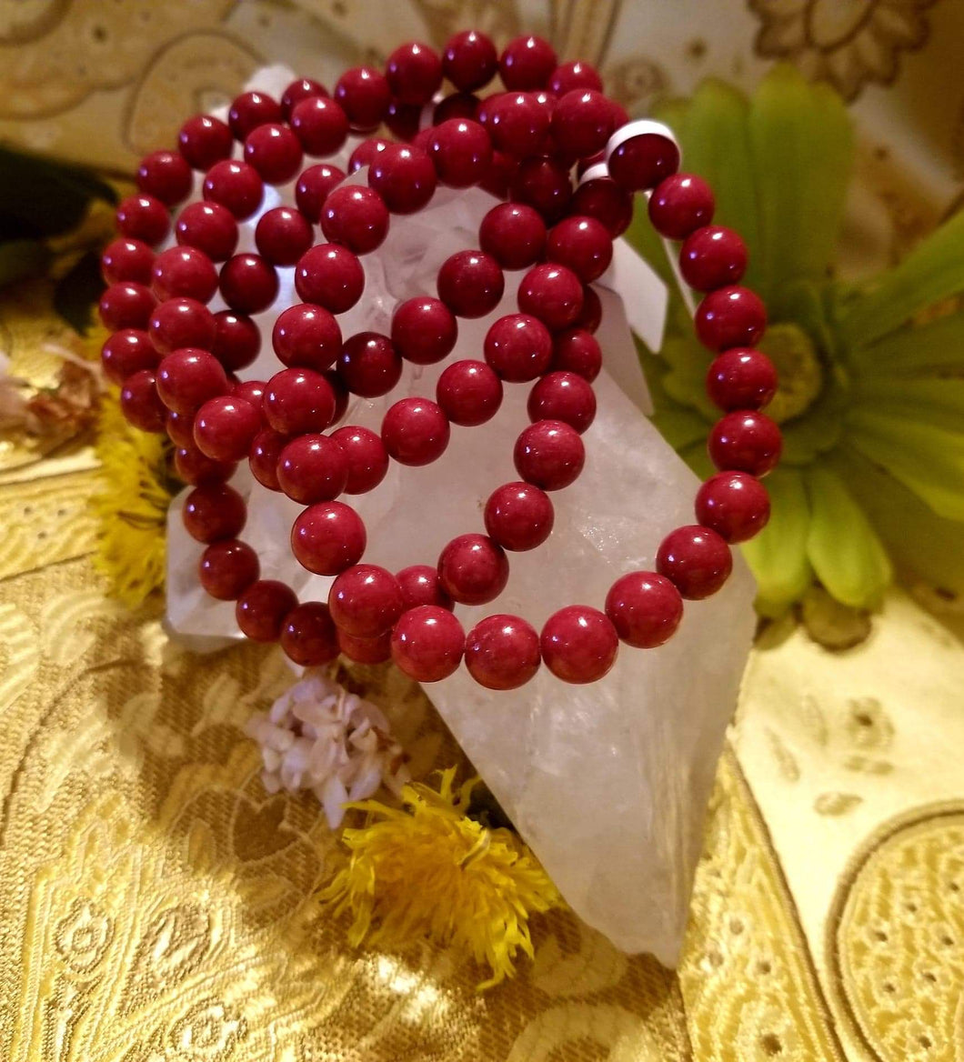 Dyed Mountain Jade (Red) 8mm Round Bead Bracelet